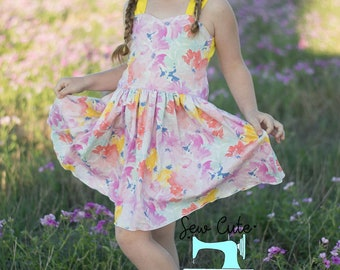 Spring Dress- Summer Dress- Mother's day Dress- Flowers- Clothing- Bright and fun- Mom's Day Dress- Vacation- flowery- Poppy Dress- Sew Cute