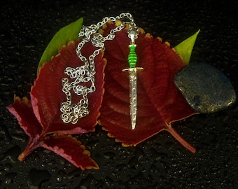 Dagger Pendant - In 925 Solid Sterling Silver with 18k gold accents (with free leather necklace and silver clasp)