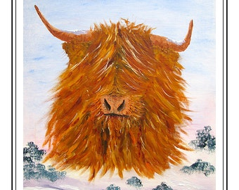 Original Oil painting of Highland coo in snow, called Bruce, with A2 mount size, Cow painting, Coo art, gift, Scottish Highlands wall art