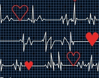 Calling All Nurses - Heart Beat EKG in Black - Cotton Quilt Fabric - Whistler Studios for Windham Fabrics 37302-1 (W449)