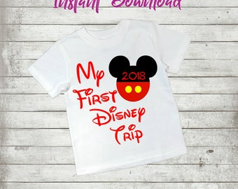 My First Disney Trip, Family Vacation 2018 Printable Iron On Transfer Digital Instant Download Castle Cruise Minnie Mickey Mouse Tshirt