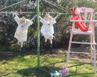 Play time! Gorgeous rare vintage dolls clothesline