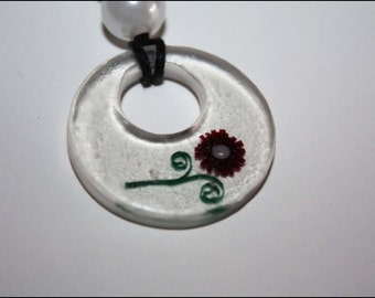 Resin Keychain with paper flower #414