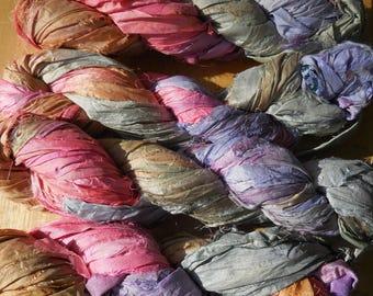 50 Yards,  Sari Silk Ribbon Skein,  Cupcakes,  Pastel Colors for Spring