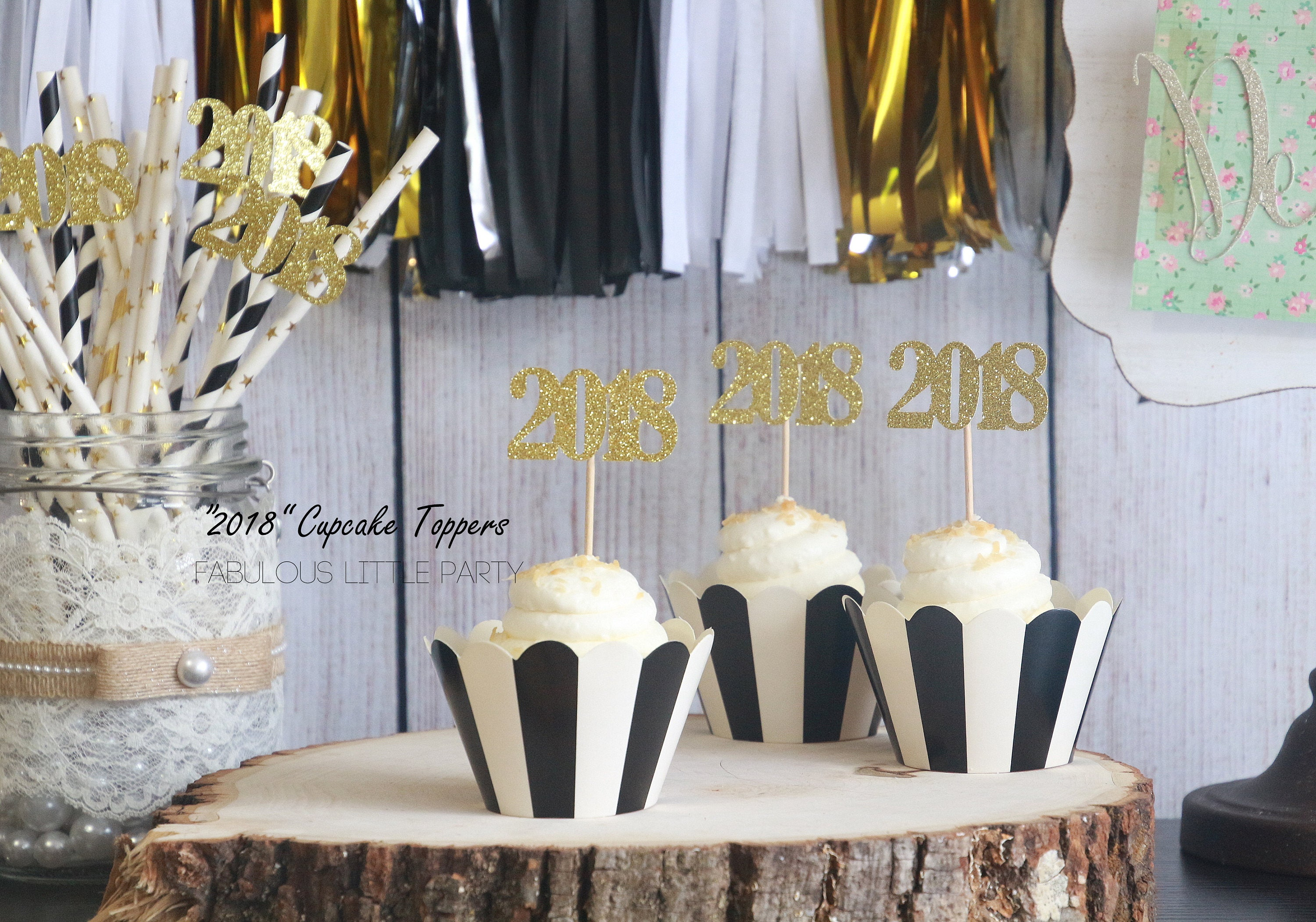 Graduation Decorations 2018 Number Cupcake Toppers