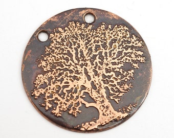 Etched copper tree necklace focal point, two hole component, 25mm