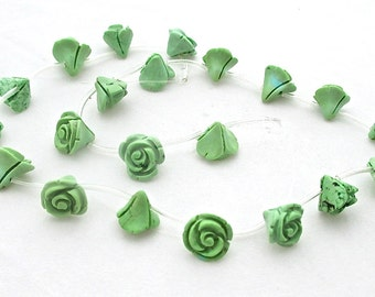 Green Turquoise Hand Carved Rose Flower Beads Full Strand - 10 x 12mm - 20 Beads