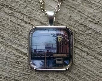 L Tracks Chicago Necklace - Fine Art Chicago Pendant