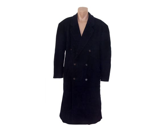 Double Cashmere Navy Pea Vintage Long Men blue Coat Wool breasted wqxp8gC