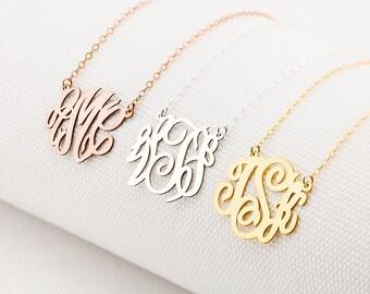 Monogram Necklace • Dainty Monogram Necklace • Custom Block Monogram Initials Necklace • Name Jewelry • Bridesmaids Gifts • Personalized