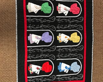 Very special one of a kind vintage sue bonnet crib quilt newly quilted, new batting and backing