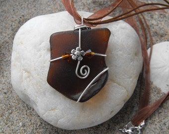 brown seaglass necklace