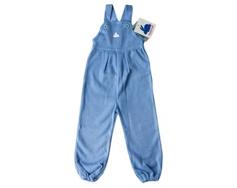 Knit baby boy romper, Vintage baby girl romper, Toddler dungaree, Kids suspender pants, Blue overalls, Size 2 2y, New old stock 70s clothing
