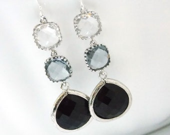 Glass Earrings, Clear Earrings, Gray Grey, Black Earrings, Silver, Bridesmaid Jewelry, Bridesmaid Earrings, Bridal Jewelry, Bridesmaid Gift