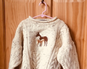 Irish Wool Cable Knit Cream Sweater for a Boy or Girl with a Horse and Colt Patch Size 5