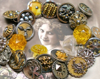 "1800s BUTTONS charm bracelet, Victorian Flowers & Stars, 7 3/4""  sterling silver ooak jewellry."