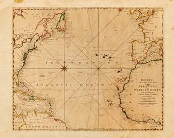 Jahrgang Atlantik Karte Drucken 8 x 10 P78