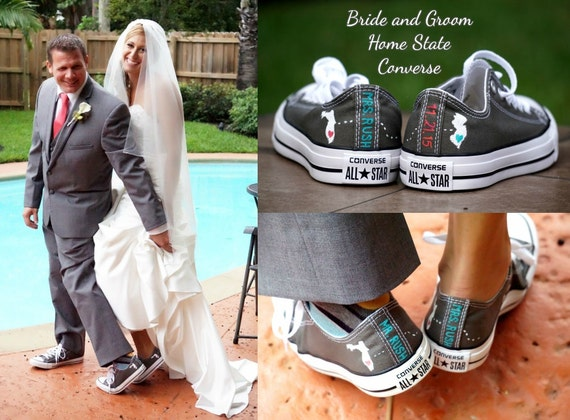 Bride and Groom Converse Wedding Shoes Home State Hand