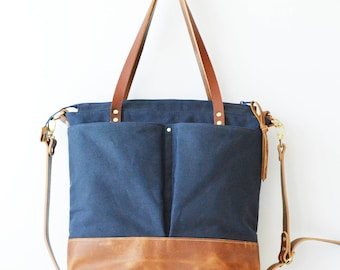 Waxed Canvas and leather Work tote / Travel bag / Tote bag / Backpack / Diaper Bag / Market tote - Navy Blue waxed canvas and toffee leather