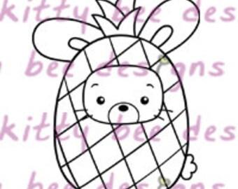Pineapple Bun  Digital Stamp