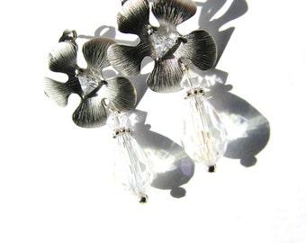 Silver Flower CZ Stud Earrings, Clear Crystal Teardrop Earrings, Sterling Silver, Feminine Earrings, On SALE, Ready To Ship, Gift Boxed