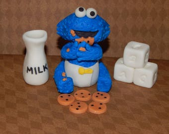 Baby Cookie Monster Inspired Fondant Cake Topper Set