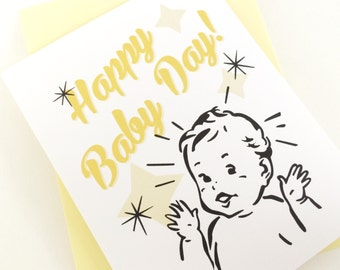 Happy Baby Day Card. New Baby Card. Baby Shower g. New Mom Card. New Dad Card. New Parent Card. Baby Shower Card. Gender Neutral Baby Gift.