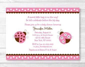 Pink Ladybug Baby Shower Invitation PRINTABLE A217