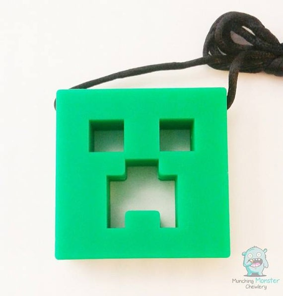 Monster Sensory Pendants, Creeper, sensory necklace, fidget, adhd, asd, spd, autism, chewing necklace, child necklace, silicone necklace