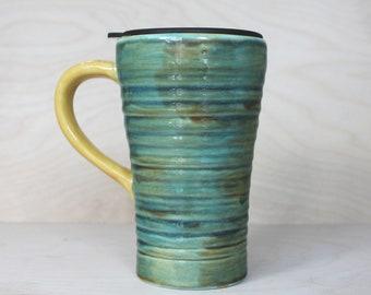 Ceramic Travel Mug - Patina (with handle and lid)