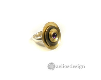 Cocktail Ring | Gold Statement Ring | Unique Bold Ring | Genuine Amethyst Gemstone Ring | Metal Work | Statement Satellite Ring