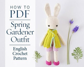 Crochet Pattern, Spring Gardener outfit for Angie Bunny, step by step DIY amigurumi pattern, ready to download by CrochetObjet