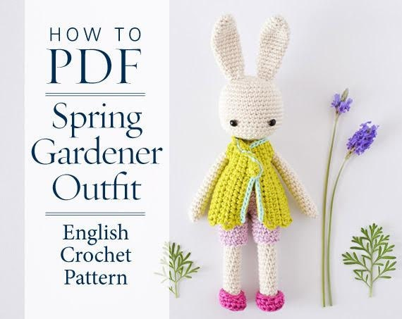 Crochet Pattern Spring Gardener Outfit For Angie Bunny Step By