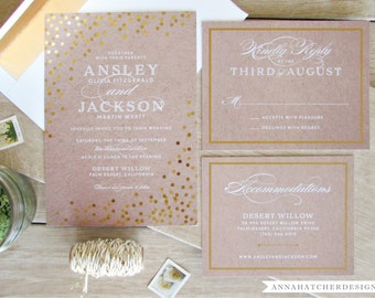 Gold Foil Wedding Invitation with Matching Reply and Enclosure Card / Confetti Foil-Pressed Design, Kraft Paper / FREE Shipping