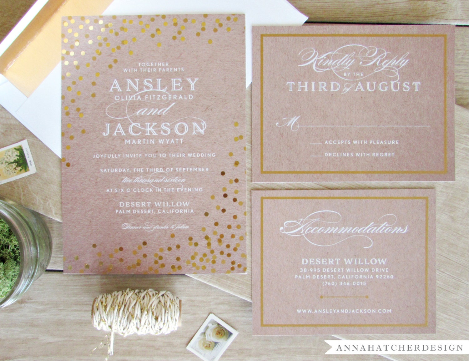 Gold Foil Wedding Invitation with Matching Reply and Enclosure