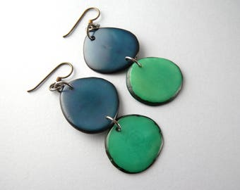 Navy and Teal Tagua Nut Eco Friendly Earrings with Free USA Shipping SALE #taguanut #ecofriendlyjewelry
