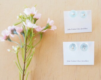 Blue stud earrings. Recycled glass beads. Choose matt or shiny finish. Minimal studs perfect for everyday earrings.