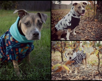 CUSTOM LARGE DOG sweater/ pitbull / fleece/ sweater/dog coat/dog jacket/ large breed / tooth and honey / short sleeve
