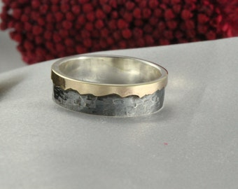 14k gold Mountain Texture Ring,Mountain Texture Ring, handmade 14k gold ring, Man or woman's ring, oxidized silver ring, nature jewelry