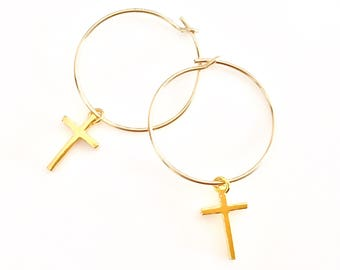Minimal Gift For Her - Cross Earrings - Minimal Wife Gift - Cross Earrings - Minimal Gift for Friend  - Minimalist Gifts for Mom - Simple