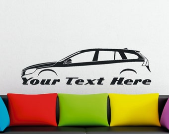 Large Custom car silhouette wall sticker - for Volvo V60 Station wagon , 2010+