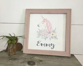 Unicorn Canvas  - Little Girl Gift - Personalized Gift - Cute Valentine Gift - Unicorn Art Unicorn Lovers - Unicorn Decor - Baby Shower Gift