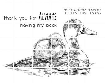 Momma and baby duck with 2 sentiments digital stamps by Tierra Jackson