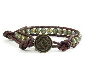 SALE Celtic Knot Leather Wrap, Beaded Leather Wrap, Boho Leather Wrap, Green Bracelet