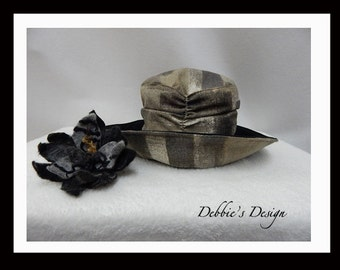 Women's Fabric Cloche Hat-40 - Womens Hats, Hats, Handmade, Handmade Wool Flower, Black, Grey, Brown, Accessories,  Lightweight, Folk Hat