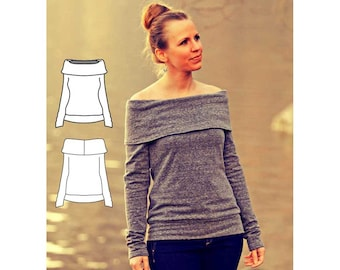 Womens Shirt Pattern. Pullover Pattern, off-the-shoulder sweatshirt pattern. Sweater Sewing pattern.