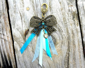 Keys-bag Jewelry - Accessories bronze bow holder in shades of blue