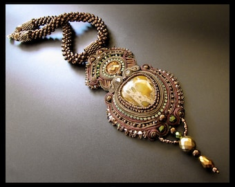 RESERVED for TERRY - Enchanted Forest - Soutache Necklace in Dark Bronze, Brown & Dark Green OOAK