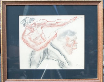 """Zoltan Sepeshy """"Man with Rope"""" Conté Crayon on Paper 1974"""