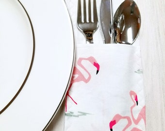 Spring Decor- Place Setting- Silverware holder – Utensil Holder – Table Decor – Table Settings - Housewarming Gift – Gift for Her - Flamingo